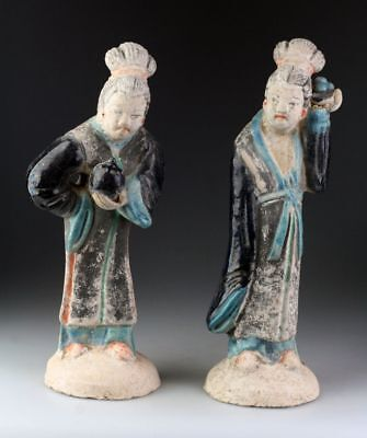 *SC* A PAIR OF CHINESE POTTERY COURT LADY FIGURES, Ming Dynasty!