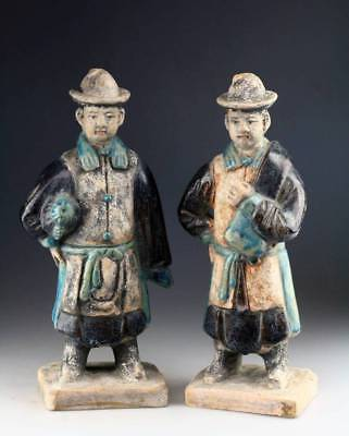 *sc*rare Pair Of Chinese Ming Dynasty Tomb Pottery Attendants!