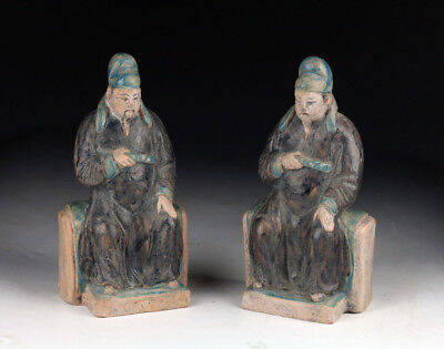 *sc*set Of Two Chinese Pottery Seated Officials, Ming Dynasty!