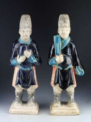 *sc* Superb Set Of 2 Chinese, Ming Dynasty Tomb Pottery Attendants, 1368-1644!