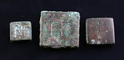 *SC* LOT OF THREE BYZANTINE SQUARE BRONZE WEIGHTS, 1st mill. BC!!