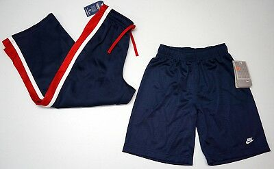 NWT LOT OF 2 Sweat Pants Shorts NIKE Oshkosh Boys 7  Navy Blue Red Elastic NEW