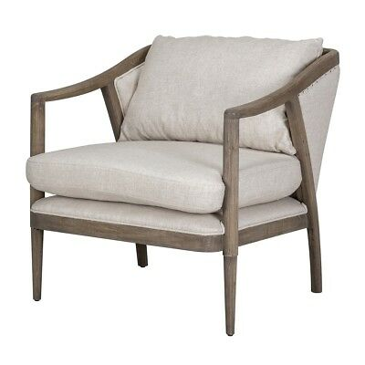 "32"" Tall Occasinal Chair Solid Oak Wood Frame Linen Blend Cushions Relaxed"