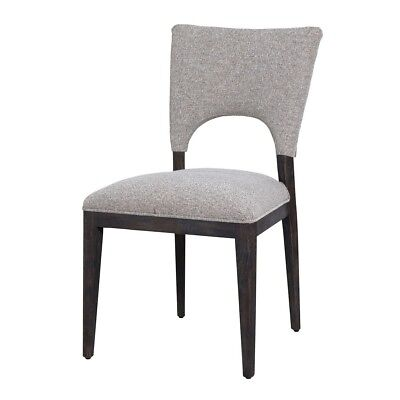 "35"" Tall Dining Chair Solid Oak Wood Frame Dark Finish Grey Upholstery"