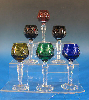 (6) Bohemian/Czech Cut to Clear Crystal Cordials Glasses Colorful Stemware yqz