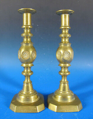 Antique Pair Late 19th C James Clew & Sons Brass 'Good Luck' Candlesticks #3 yqz