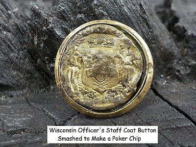 Old Rare Vintage Antique War Relic State Wisconsin Officer's Staff Coat Button