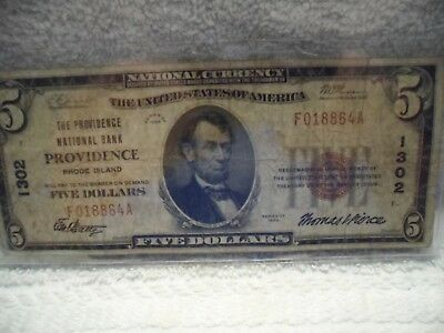 $ 5 US Currency Note (The Providence Nat'l Bank) of Providence) # 1302