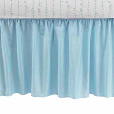 "CoCaLo Collection Aqua Blue Cotton Sateen Crib Dust Ruffle Brand New 18"" NWT"