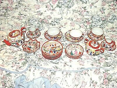Vintage Japanese Geisha Ware Porcelain Pin Dip Chocolate/tea Pot Set 24 Piece