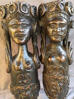 Two Rare 17th Century Carved Oak Figures, Probably Legs