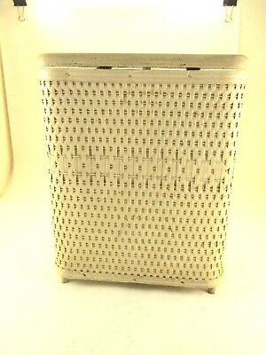 Vintage Small White Wicker Clothes Hamper, Child Sized, Only 13 Inches Tall,