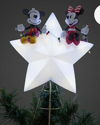 Mickey and Minnie Mouse Light-Up Holiday Tree Topper Christmas Decoration 90year