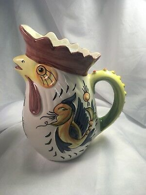 "Vintage Hand Painted 10"" Rooster Pitcher Made In Portugal"