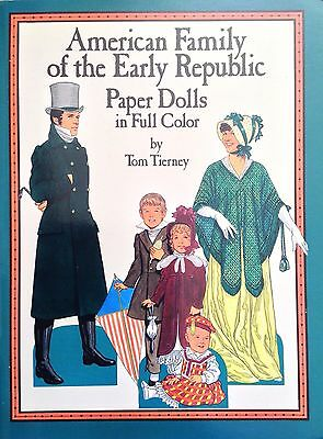 American Familie mit The Early Republik Puppe Buch,1988,Uncut 15 Seiten,Tierney