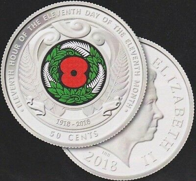 2018  New Zealand ARMISTICE DAY coloured Red Poppy Commemorative coin