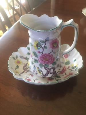 Old Foleychinese Rose Creamer Pitcher And Tray