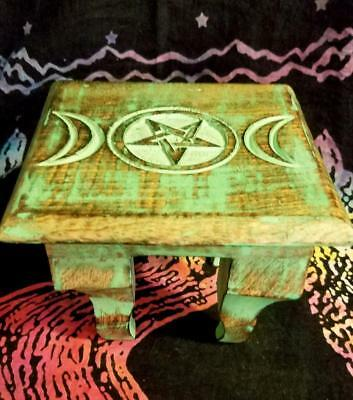 Wooden Travel Triple Moon Pentacle ALTAR Table with FRANKINCENSE