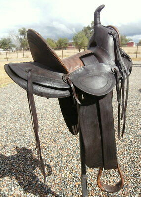 Old Antique High Back Loop Seat Cowgirl Horse Saddle by Victor Marden