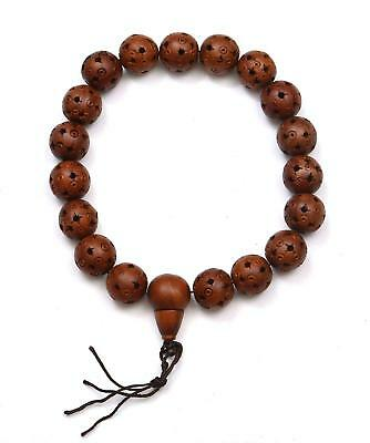 Chinese Hediao Sandalwood Wood Carved 18 Bead Buddha Prayer Rosary Bracelet