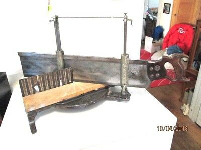 Stanley No 358 Miter Box with 26 inch H. Disston & Sons Miter Saw Pat. 9-27-1904