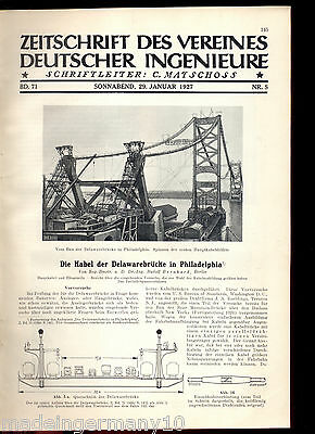 "BEN FRANKLIN DELAWARE river bridge Philadelphia in ""Z. d. VDI"" 1927 histo report"
