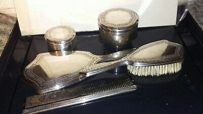 (LOT OF 5) TIFFANY STERLING SILVER COMB/BRUSH/MIRROR/TWO JARS 1940's VGC