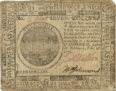 1777 $7 Continental Currency - Baltimore Issue - Scarce Type & Nice Grade Note