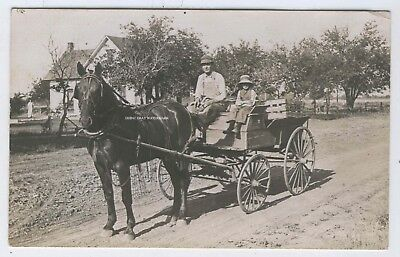 1910-18 Real Photo Man & Child in Wagon Dirt Road Rural Scene South Haven Kansas