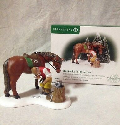 Dickens Village-Blacksmith To The Rescue 2001 Farrier Dept 56 New