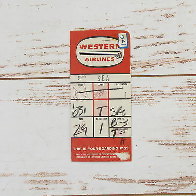 Western Airlines 1960 S Ticket Jacket Boarding Pass Luggage Tags
