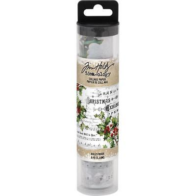 Tim Holtz idea-ology Collage Paper Holly Christmas