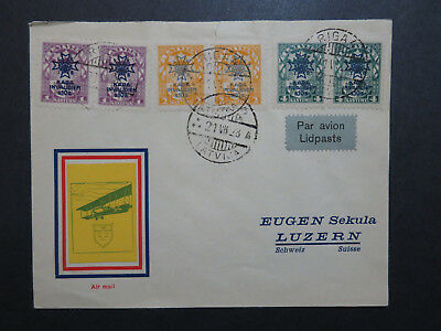 Latvia 1928 Airmail Cover to Switzerland / Sm Top Tear - Z8580