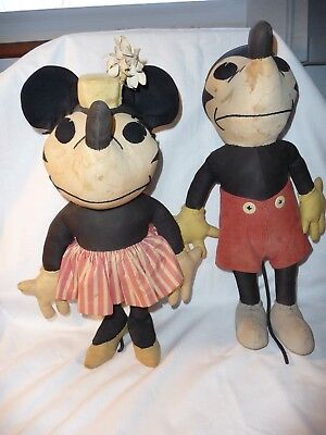 Antique Charlotte Clark Mickey & Minnie Mouse Dolls