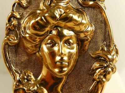 LADY CAMEO High Relief Ornate PIN Bright Yellow Gold