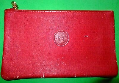 fcd1133cda Vintage FENDI Cosmetic Bag - Roma Italy 1925 - FF S.A.S. RED Zucca Small  Clutch