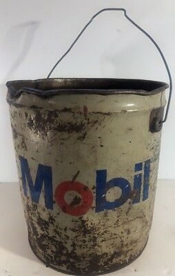 Vintage 5 Gallon Mobil Oil Drum Metal Grease Bucket Gear Lubricant Can
