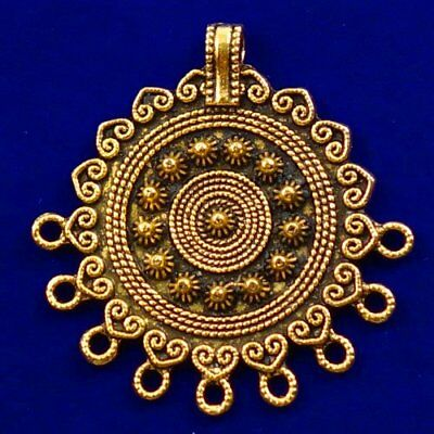 Carved Brass Bronze Round Pendant Bead 40x4mm L90542