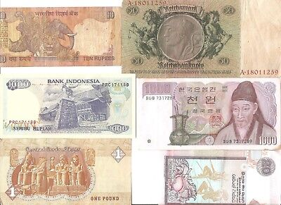 Mixed foreign paper currency - lot of  6