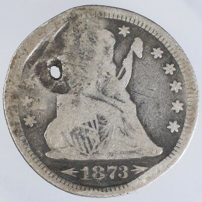 1873 Seated Liberty Quarter damaged Arrows at Date
