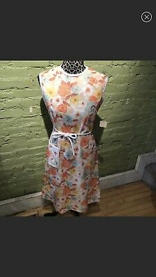 Vintage Jackie O Style Floral Dress Pinafore 50s 60s Pockets Tie Waist NWT