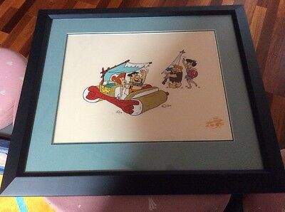 Flintstones limited edition sericel Beach Blanket Bedrock framed matted