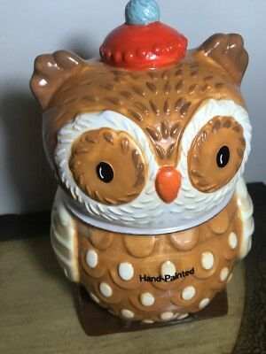 Harvest Owl Cookie Jar NEW-100% Earthenware Ceramic -FALL Decor
