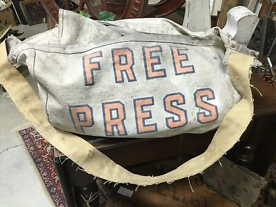 Vintage Canvas Free Press Newspaper Deliver Bag Detroit