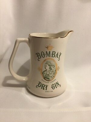 VINTAGE BOMBAY  DRY GIN WATER PITCHER Bar Pitcher LONDON ENGLAND Staffordshire