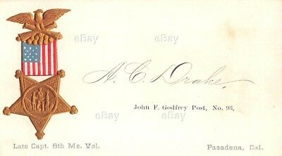 Antique Calling Card Civil War Veteran Gar Pasadena Cal Capt Maine Vol 8Th Regt