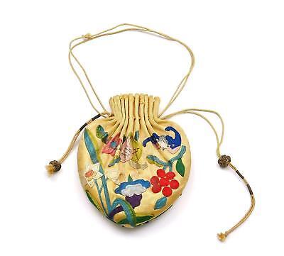 1930's Chinese Silk Embroidery Perfume Pouch Purse Bat Flower Textile