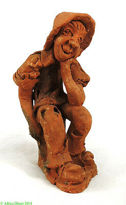 Clay Figure Hobo Thinking Malawi African Contemporary Craft