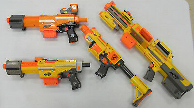 Lot of 4 Nerf Guns Working w/ Darts PREOWNED MODERATE PLAYWEAR