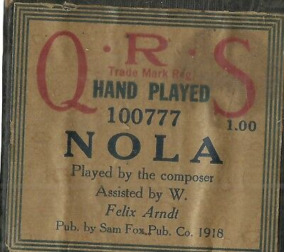 Nola, played by the composer, Felix Arndt, QRS 100777 Piano Roll Original